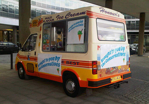 Promotional ice cream van at london event