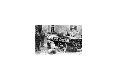 Horse drawn cart ice cream vendors