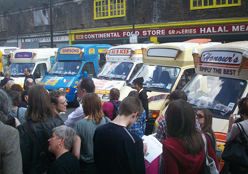 Fleet ice cream vans in city of london