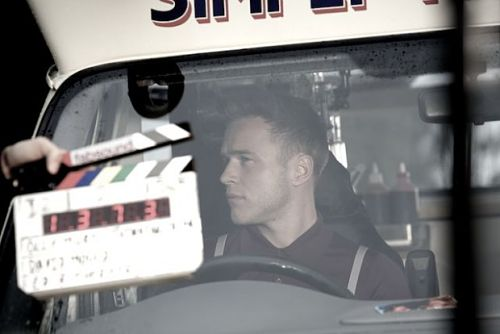 Olly's next take filming his music video