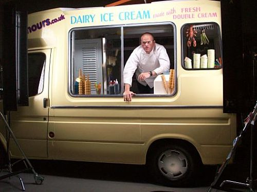Ice cream van and Heston in photo shoot