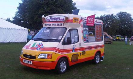Ice cream van at Football tournament