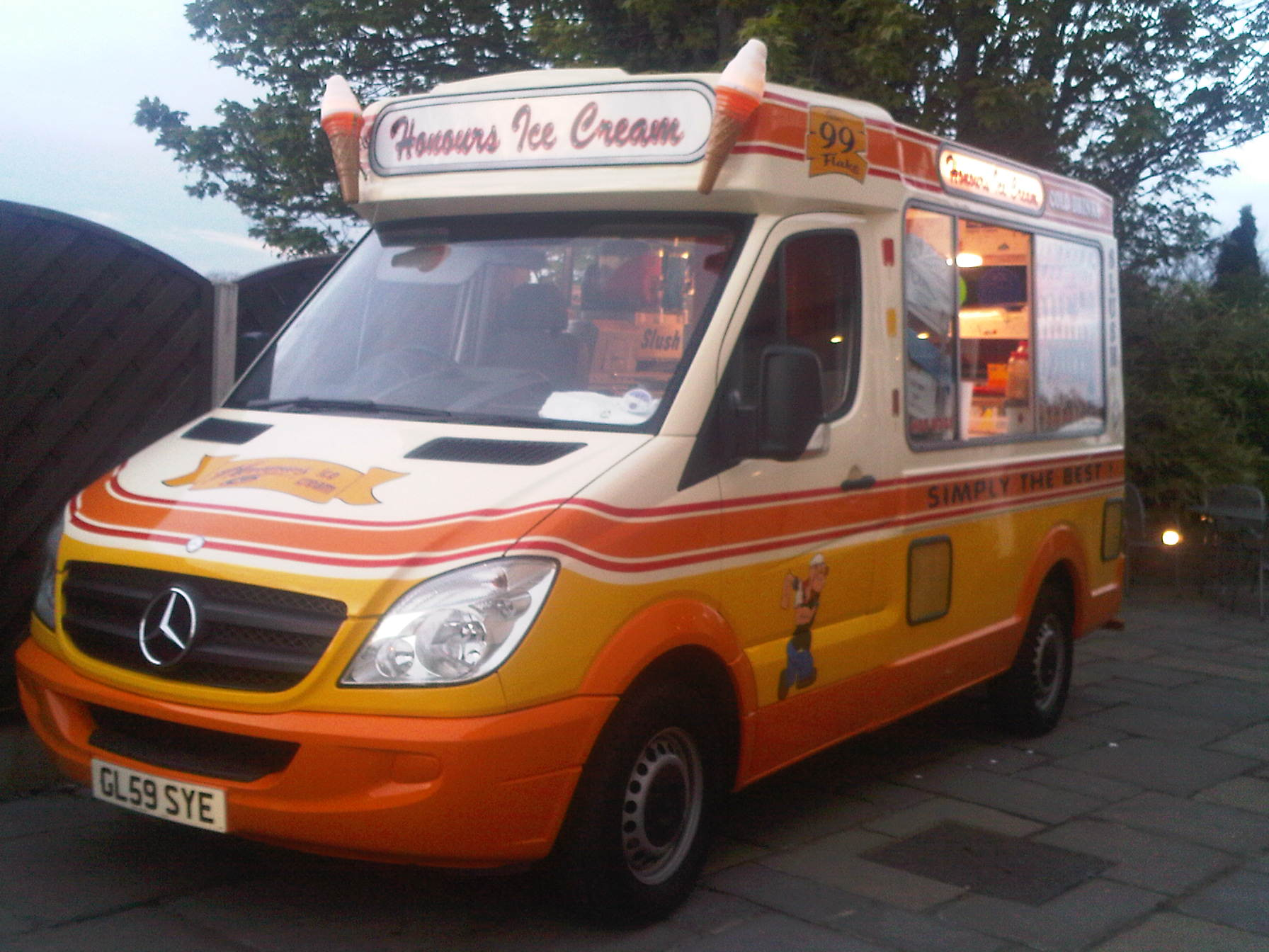 Whitby Morrison ice cream van at wedding party