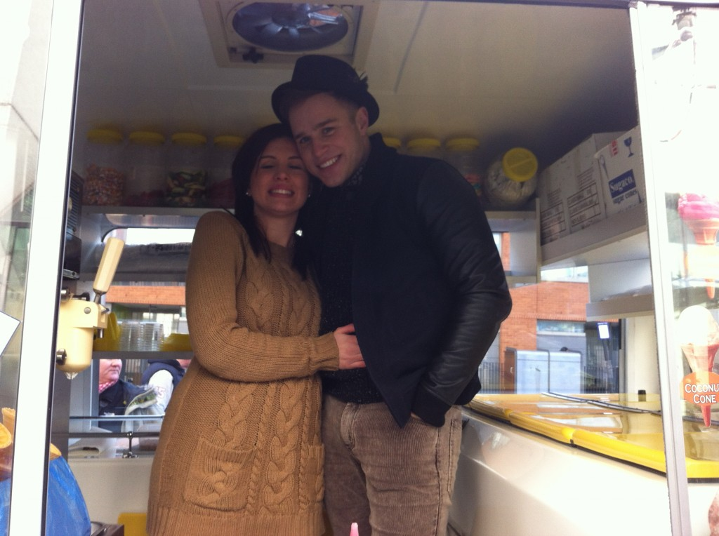 Canev and Olly in ice cream van