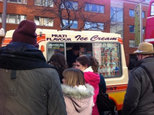 Ice cream van outside London ITV studios